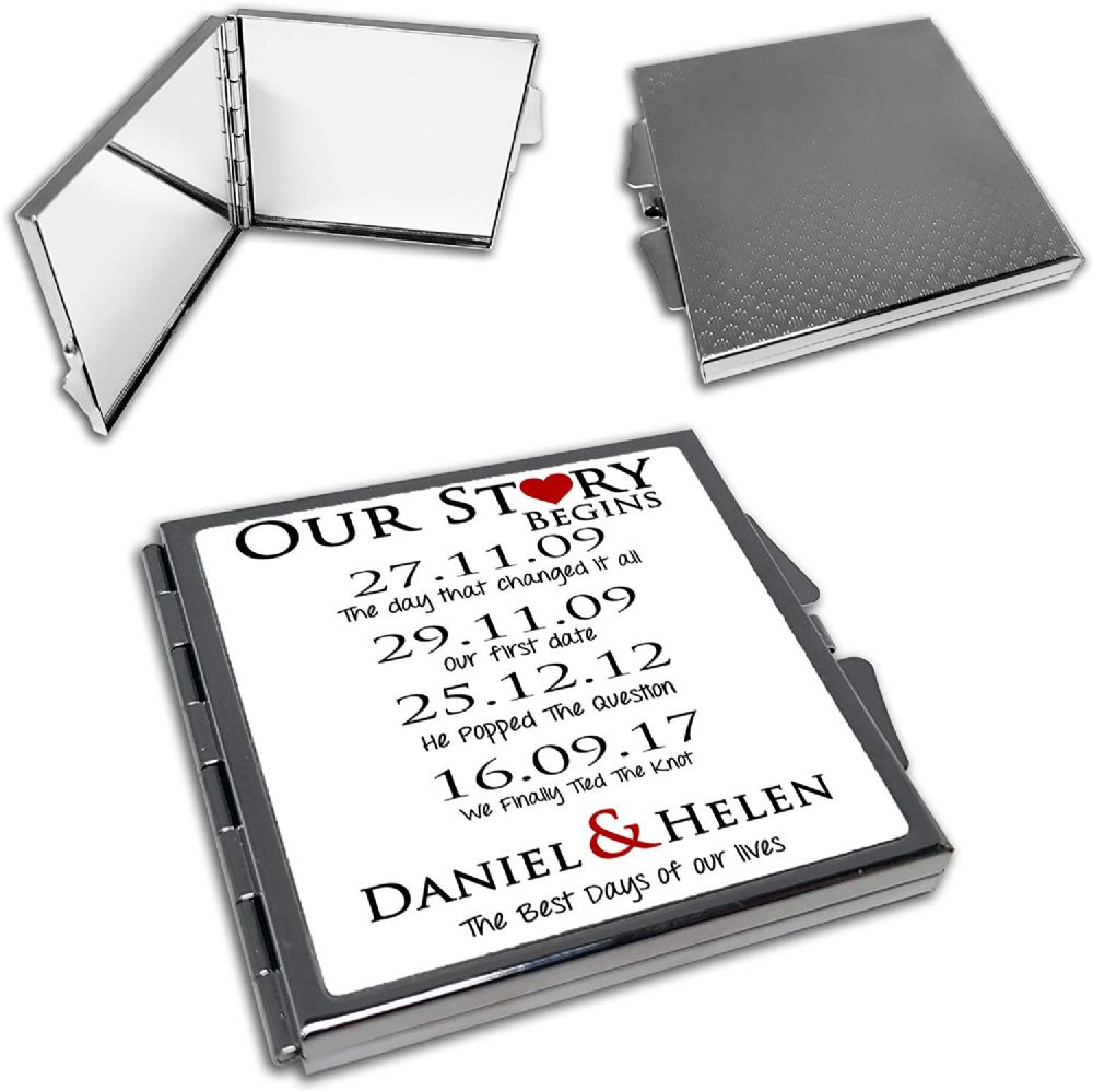 Personalised Our Love Story Begins Cute Square Compact Mirror